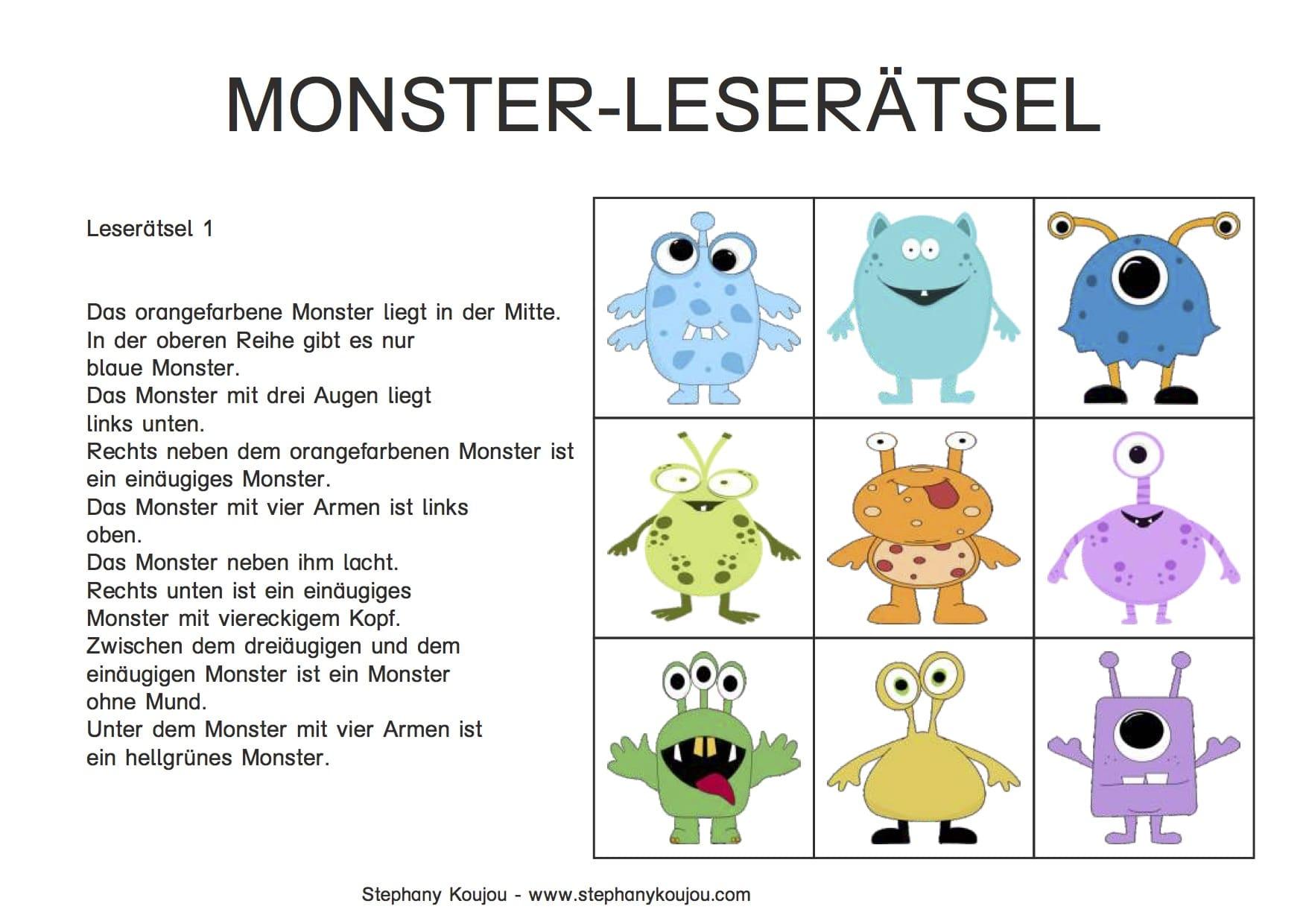 Monster, lesen, knobeln, Rätsel