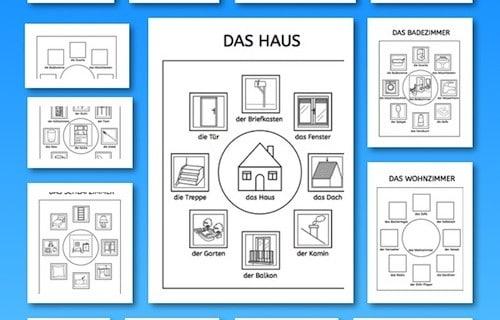 Wortschatz, Haus, Lesen, Schreiben, Malen, Legasthenie, Sprache, DAF, Sprachförderung