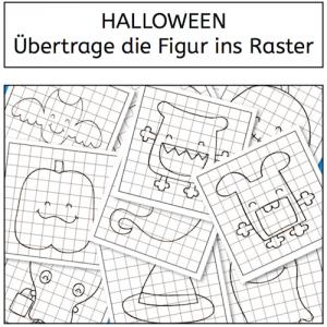 Halloween, Übertrage die Figur ins Raster, Wahrnehmung, Legasthenie, Dyskalkulie, Eltern, Kinder, Arbeitsblatt, visuelle Wahrnehmung, räumliche Wahrnehmung