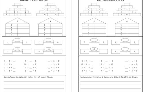 Zahlenraum bis 10, Rechnen, Dyskalkulie, Eltern, Kinder, Unterricht, Arbeitsblatt, Schule