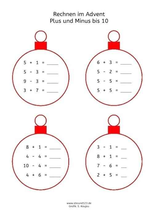 Advent, Rechnen, Mathe, Arbeitsblatt, Grundschule, Förderunterricht, Dyskalkulietraining, Dyskalkulie, Eltern, Kinder