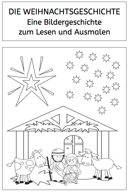 weihnachtsgeschichte bildergeschichte zum lesen und ausmalen. Black Bedroom Furniture Sets. Home Design Ideas