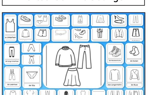 Wortschatz, Kleidung, Lesen, Schreiben, DAZ, DAF, Sprachförderung