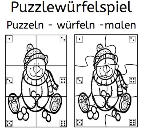 Puzzlewürfelspiel, Puzzle, Würfeln, Würfelspiel, Zählen, Zahlen, Zahlen kennenlernen, Dyskalkulie, Rechnen, Eltern, Kinder, Vorschule, Grundschule