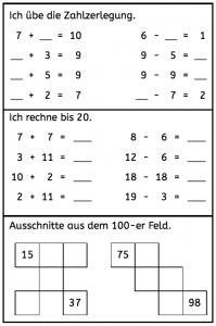Wiederholen bis 20, Zahlenraum bis 10, Zahlenraum bis 20, Zahlenraum bis 100, Zahlzerlegung, Mathe, Rechnen, Dyskalkulie, Eltern, Kinder, Grundschule, Förderschule,