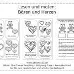 Bären und Herzen (Lesen und malen)