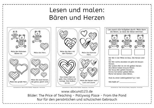 Lesen, malen, Legasthenie, Valentin, Arbeitsblatt, kostenlos, Eltern, Kinder, Grundschule, Förderunterricht