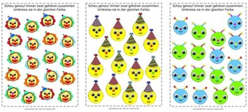 Clowns, Partyhüte und Aliens, visuelle Wahrnehmung, Aufmerksamkeit, Arbeitsblatt, Legasthenie, Dyskalkulie, Kinder, Eltern, kostenlos, Fasching, Karneval