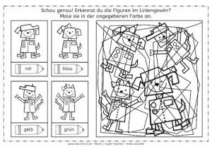 Roboter im Liniengewirr, Roboter, Liniengewirr, Wahrnehmung, visuelle Wahrnehmung, Arbeitsblatt, kostenlos, Eltern, Kinder