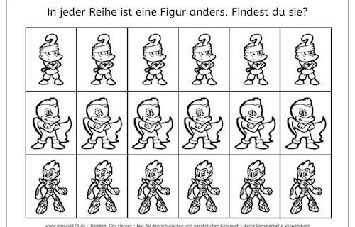 Minihelden: Finde den Unterschied, Wahrnehmung, visuelle Wahrnehmung, Legasthenie, Dyskalkulie, Arbeitsblatt, kostenlos, Lehrer, Kinder, Eltern, Koujou, Stephany Koujou