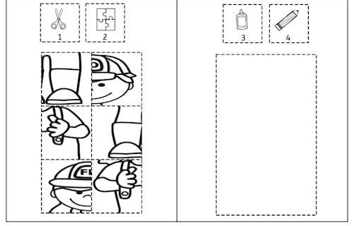 bei der feuerwehr puzzles feuerwehr puzzle feinmotorik wahrnehmung vorschule grundschule. Black Bedroom Furniture Sets. Home Design Ideas
