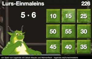 Neues Online-Spiel: Lurs-Einmaleins, Einmaleins, Rechnen, online, Schule, Grundschule, Einmaleins online üben, Koujou, Stephany Koujou, Dyskalkulie, Rechenschwäche