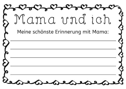 Muttertag schreibanl sse for Muttertag grundschule