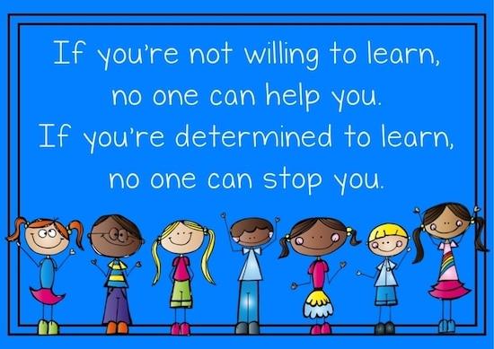 Wenn du unbedingt lernen willst, lernen, Poster, Klassenzimmer, Lehrer, Eltern, Koujou, Stephany Koujou, Kinder, Schule
