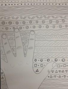Hände, warm, kalt, Muster, Farbe, Zentangle, doodle, doodeln, kreativ, malen, Kinder, homeschooling, Koujou, Stephany Koujou