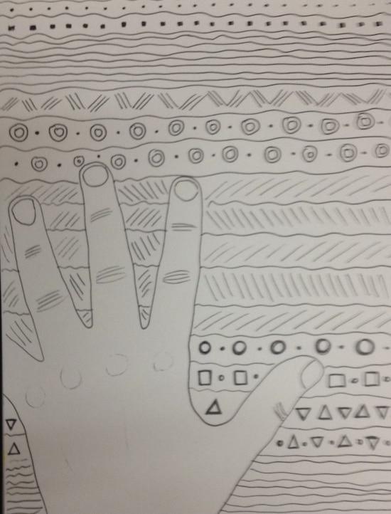 Warme und kalte Hände oder doch gemustert?, Hände, warm, kalt, Muster, Farbe, Zentangle, doodle, doodeln, kreativ, malen, Kinder, homeschooling, Koujou, Stephany Koujou