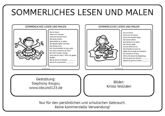 Auge Grundschule Arbeitsblatt Kostenlos : Sommerliches lesen und malen