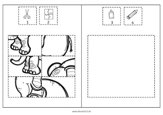 Excel Arbeitsblatt Ausschneiden : Tierpuzzles