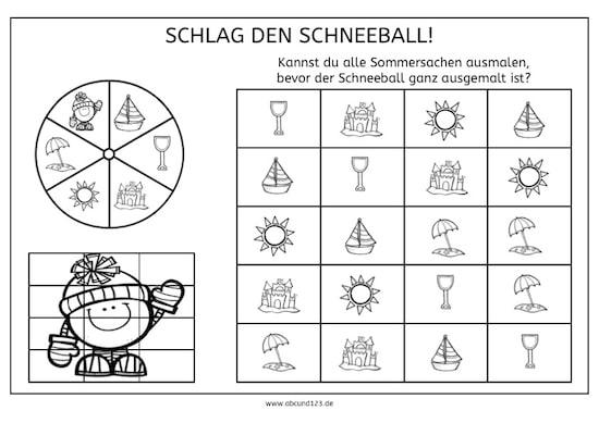 Sommer Abc Arbeitsblatt : Tag schlag den schneeball