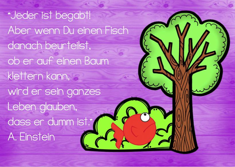 Fisch auf Baum, Zitat, Albert Einstein, nachdenken, Kinder, Eltern, begabt, Klassenzimmer, Stephany Koujou