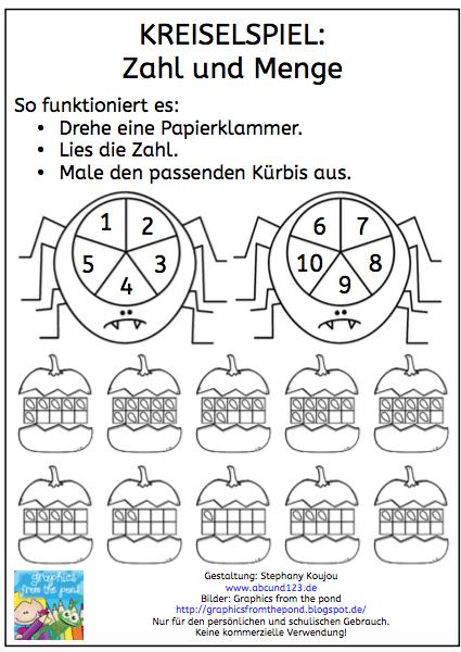 Kreiselspiel: Zahl und Menge (Halloween-Version)