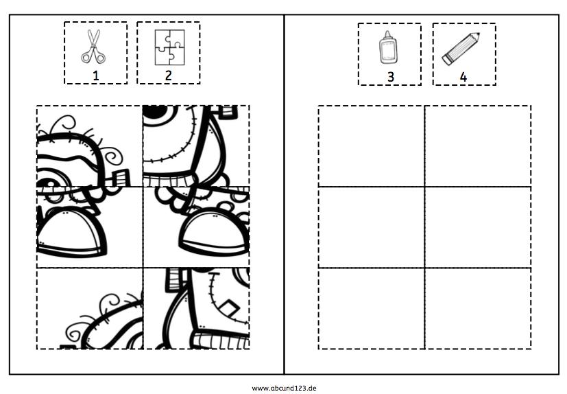 Monster, Halloween, Klebepuzzle, Puzzle, Feinmotorik, Wahrnehmung, Vorschule, Grundschule, Schule, Förderschule