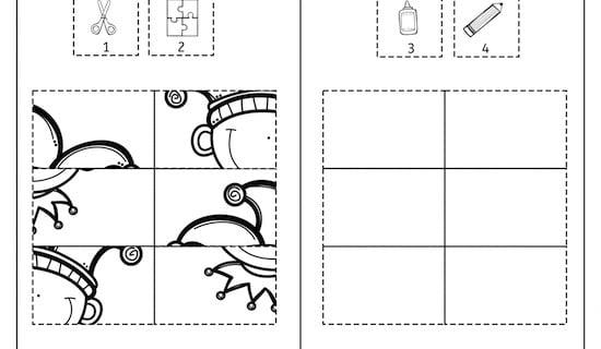Fasching, Karneval, Klebepuzzle, Puzzle, Feinmotorik, Wahrnehmung, Vorschule, Grundschule, Schule, Förderschule, AFS-Methode, Stephany Koujou