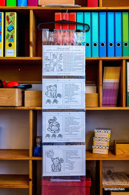 Blick ins Lernstübchen, Linktipp, Katzen: Lesen und malen, Katzen, lesen, malen, Lesemalblatt, Legasthenie, Grundschule, Förderschule, Kinder, Eltern, kostenlos, Arbeitsblatt, AFS-Methode, Koujou, Stephany Koujou