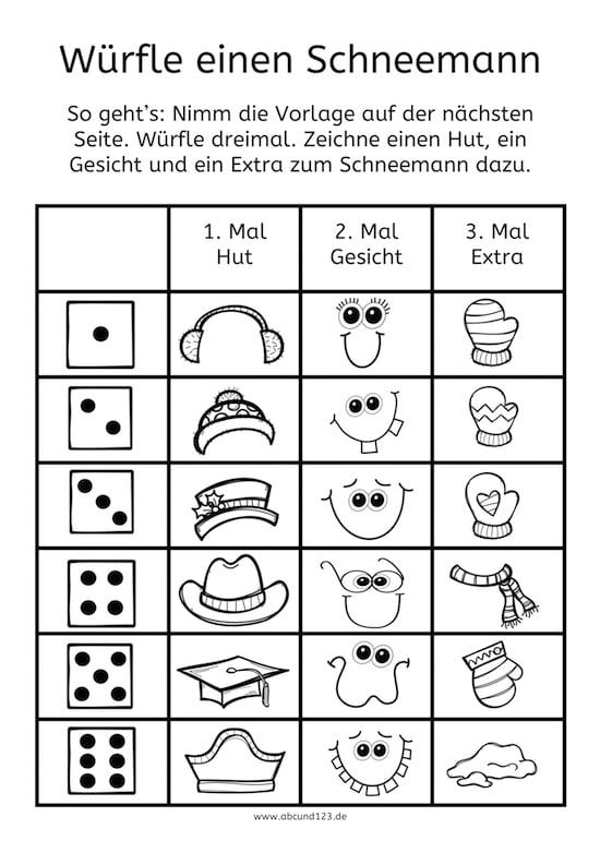 Schneemann Würfelspiel