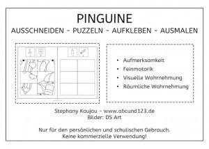 Pnguin-Puzzles, Ausschneiden, kleben, ausmalen, Feinmotorik, Pinguine, Legasthenie, Dyskalkulie, Kinder, Vorschule, Grundschule, Förderschule, Eltern, kostenlos