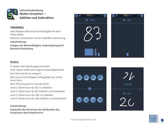 Mathe Verstehen - Addition und Subtraktion, rechnen, App, Appp Media