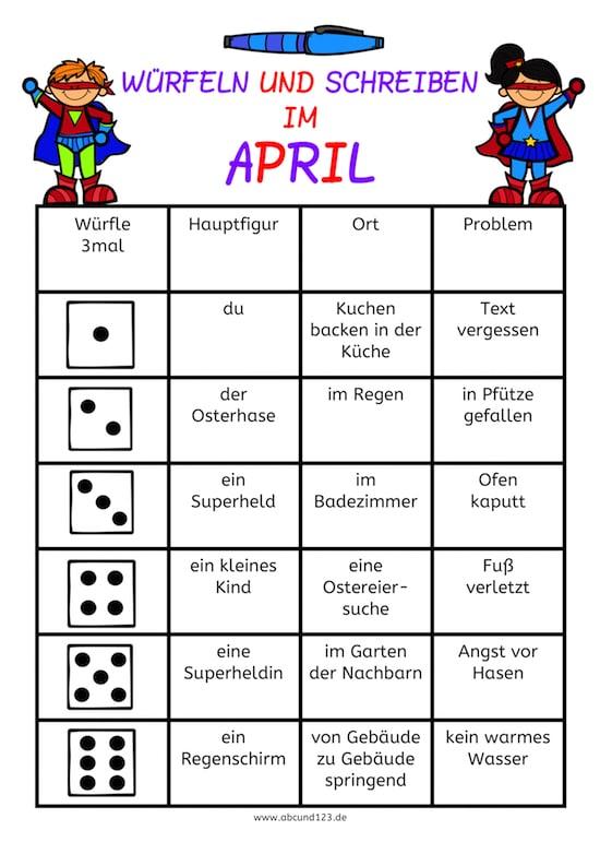 Schreiben und würfeln im April