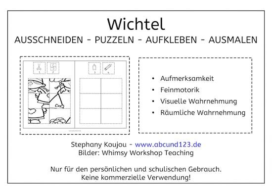Wichtel, Wichtel-Puzzles, Klebepuzzle, Puzzle, Feinmotorik, Wahrnehmung, Vorschule, Grundschule, Schule, Förderschule, AFS-Methode, Stephany Koujou