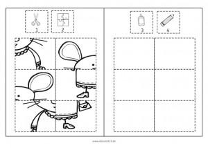 Puzzles mit den fröhlichen Mäusen, Klebepuzzle, Puzzle, Feinmotorik, Wahrnehmung, Vorschule, Grundschule, Schule, Förderschule, AFS-Methode, Stephany Koujou