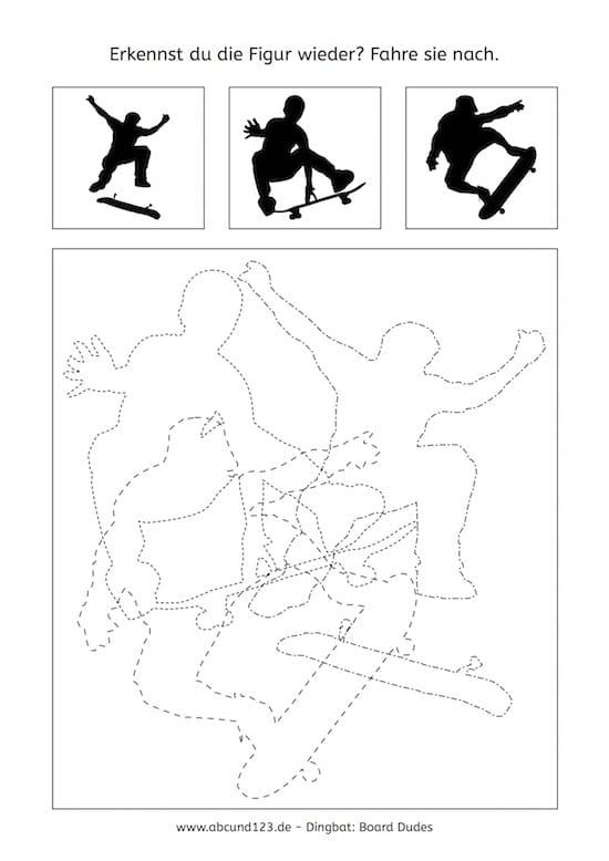 Skaters, Nachfahrübungen, Feinmotorik, AFS-Methode, Aufmerksamkeit, visuelle Wahrnehmung, räumliche Wahrnehmung, Legasthenie, LRS, Dyskalkulie, Rechenschwäche, kostenloses Arbeitsblatt, Schwungübung kostenlos, Nachfahrübung kostenlos