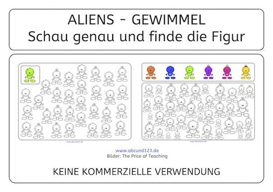 Alien-Gewimmel, Aufmerksamkeit, Wahrnehmung, Download, Legasthenie, Legasthenietraining, AFS-Methode, Koujou, Stephany Koujou, suchen und finden, schau genau, visuelle Wahrnehmung, Vorschule, Grundschule, Förderschule