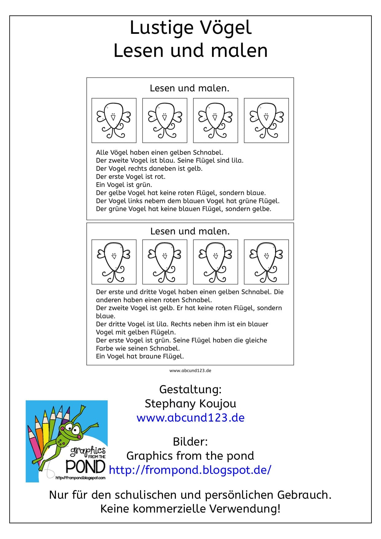 Lustige Vögel, Download, AFS-Methode, Legasthenie, Legasthenietraining, Dyskalkulie, Dyskalkulietraining, lesen, Lesemalblatt, Lesematerial, lesen und malen, Koujou, Stephany Koujou