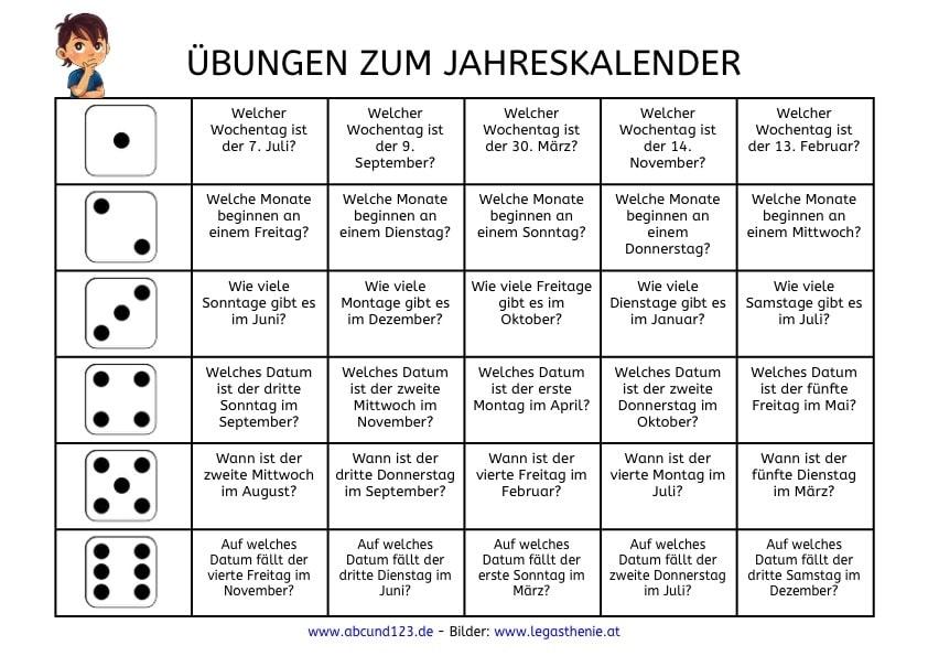 Wunderbar Kindergarten Kalender Arbeitsblatt Zeitgenössisch ...