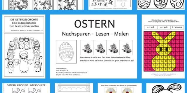 Ostern, Materialübersicht, Lesen, malen, Legasthenie, Dyskalkulie, Stephany Koujou, Koujou