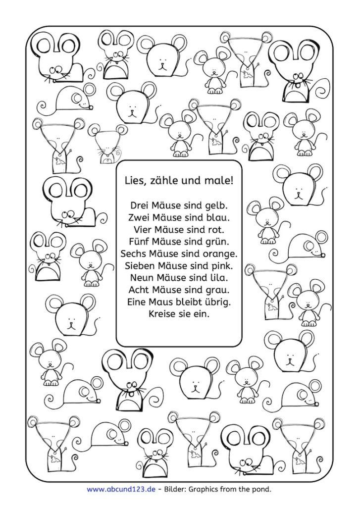 Lesezählmalblatt: Mäuse, Lesezählmalblatt, lesen, zählen, malen, Wahrnehmung, Lesematerial, AFS-Methode, Koujou, Stephany Koujou, Lesemalblatt, Grundschule, Vorschule, Förderschule, AFS-Training, Legasthenie, Legasthenietraining, Dyskalkulie, Dyskalkulietraining