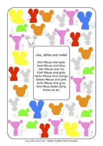 Lesezählmalblatt: Mäuse, Lesezählmalblatt, lesen, zählen, malen, Wahrnehmung, Lesematerial, AFS-Methode, Koujou, Stephany Koujou, Lesemalblatt, Grundschule, Vorschule, Förderschule, AFS-Training, Legasthenie, Legasthenietraining, Dyskalkulie, Dyskalkulietraining, Coronavirus gratis Material