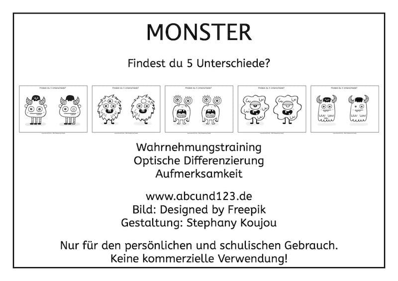 Monster, Unterschiede, Wahrnehmungstraining, Aufmerksamkeit, Optische Differenzierung, Legasthenie, Legasthenietraining, Arbeitsblatt, kostenlos, AFS-Methode, Stephany Koujou