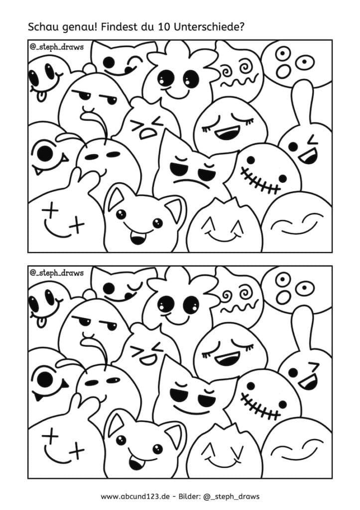 Lustige Gesichter, AFS-Methode, Stephany Koujou, Koujou, Wahrnehmung, optische Wahrnehmung, nachmalen, ausmalen, Legasthenie, Legasthenietraining